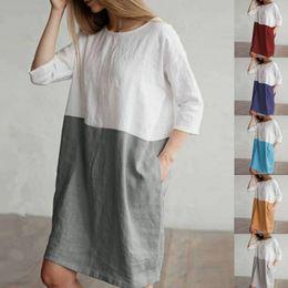 99169258f3 Women Linen Cotton Blouse Dress Patchwork Color Long Sleeve Loose Shirt  Dresses Three-quarter Pocket Knee Long Leisure T shirt S-5XL C43001