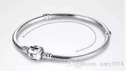23cm Silver Bracelets Australia - 2018 PAN 3mm 16-23cm 925 Silver Plated Bracelet Chain with Barrel Clasp Fit European Beads Pan Bracelet wholesale Snake Chain