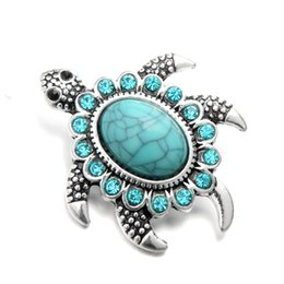 turtle charm green Australia - new arrival noosa jewelry crystal snap buttons turquoise blue turtle shape women diy fashion bracelet ginger snaps 18mm