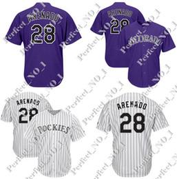87ee11d32b Hombres de Colorado Rockies 28 Nolan Arenado Majestic Baseball Jersey  Blanco Purple Cool Base Jersey cosido Envío gratis