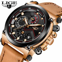 $enCountryForm.capitalKeyWord NZ - Relojes hombre LIGE Mens Watches Top Brand Luxury Casual Quartz Watch Men Leather Big Dial Waterproof Sports Watches