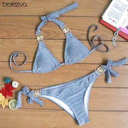 da51a53c7c23 Belleziva Sexy Diamond Luxury Golden Swimsuit Brazilian Biquinis Women Push  Up Bikini Set Shiny Crystal Swimwear Bathing Suit