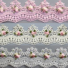$enCountryForm.capitalKeyWord Australia - Soluble Cotton Flower Diamond Pearl Embroidered Lace Fabric Wavy Trim Ribbon Handmade DIY Sewing Craft For Costume Hat Decoration 1 yard