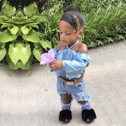 $enCountryForm.capitalKeyWord Australia - 2019 kids clothes Spring, summer and autumn girls denim suit foreign trade girls word shoulder shirt denim pants two sets