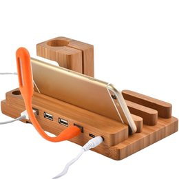 $enCountryForm.capitalKeyWord UK - Fashion Multifunctional Bamboo USB Charging Dock Phone Tablet Holder Mount for Apple Watch Phone Holder