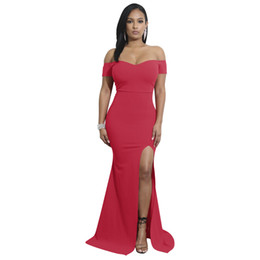 1be017e9722 Christmas new high slit design dress sexy strapless fashion Slim elegant  mopping banquet dress 9110