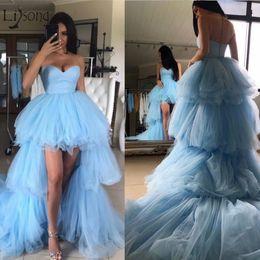 $enCountryForm.capitalKeyWord Australia - 2019 Fashion Ruffles High Low Tutu Prom Dresses Tiered Trendy Long Tulle Prom Gowns Sweetheart Off Shoulder Vestidos