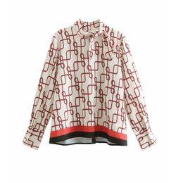 $enCountryForm.capitalKeyWord Australia - Women vintage stand collar printing bow smock Blouse Shirts women back buttons femininas chemise casual loose Blusas tops