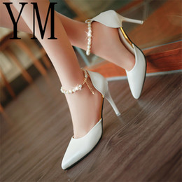 f5685b6c2aa Lady Pearl Ol High-heeled Shoes Female Fashion Sexy Hollow With Sandals  Summer Korean Of The Thin Breathable Shoes Women Pumps