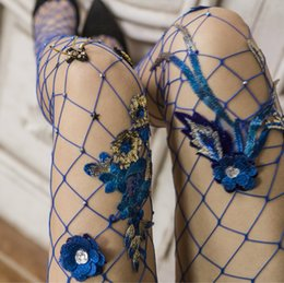 637af40b06003 Flower Tights Australia - Women Hot Fashion Sexy Fishnet Pantyhose High  Waist Stockings Blue Embroidered Flower