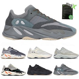 solid blue running shoes NZ - PK Version 700 V2 Shoes Mens Running Sneakers Women Designer Shoe Teal Hospital Blue Black Des Chaussures 700 Wave Runner Solid Grey Kanye