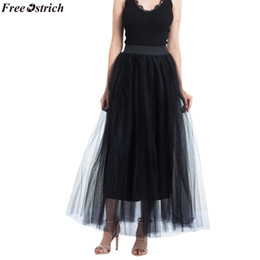 daedaa71ca wholesale Women Tulle Skirt Girls Summer Solid High Waist Skirts Pleated  Retro Princess Long Maxi Tutu Skirt Ball Gown