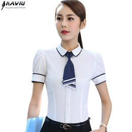 $enCountryForm.capitalKeyWord NZ - New Fashion Slim Bow Tie Shirt Women Ol Career Formal Patchwork Short Sleeve Chiffon Blouse Office Ladies Plus Size Work Tops Y19043001