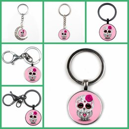 pink owl chain Australia - Fashion Cute Candy Color Skull Owl Photo Keychain Men Women Key Ring Cute Temperament Pendant Glass Charm Key Chain Gift Quality