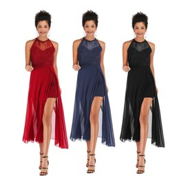 Wholesale Women Dresses Sleeveless Chiffon Hollow Out Split Skirt Sexy Young Grenadine Splice Stitch Fashion Girl Lady Summer Casual Long Dresses