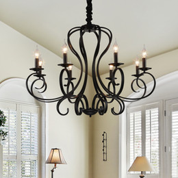 Bedroom Chandeliers Candles Australia - American iron candle chandelier E14 6 8 Heads modern bedroom lighting retro industrial wind cafe living room dining room G289