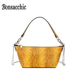 Yellow Hand Bags Australia - Yellow Women Baguette Bag Handbags Summer Female Small Shoulder Bags Petit Sac Femme Snake Print Ladies Hand Bags Clutch Purse