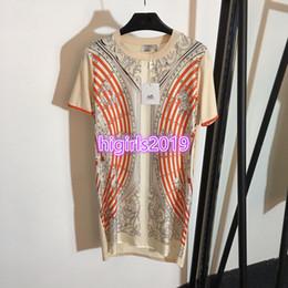 T Shirts Woman Vintage Australia - women girls silk astrologie knitted shirt dress knit crew neck short sleeve vintage long t-shirt midi skirt high-end custom runway dresses