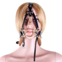 Vente en gros Couleur d'or Métal Spider O Ring Mouth Gag Avec Nez Crochet Fétiche Bouche Ouverte Fixation Orale Gag Harnais Têtière Esclave Sex Toy