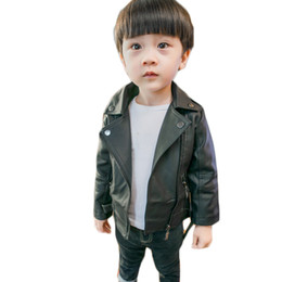 years baby jackets NZ - Boys leather children's clothing boys girls long-sleeved pu clothes 1-7 years old baby Spring jackets solid all match