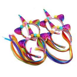 Festival wigs online shopping - Kid Girl Unicorn Wig Braid Headband Flower Hair Sticks Hair Accessories for Festival Halloween Lovely cosplay Hair Band