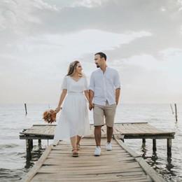 $enCountryForm.capitalKeyWord NZ - 2020 Beach Wedding Dresses A Line Plus Size Short Sleeves Bridal Gowns Zipper Back Chiffon Wedding Party Dress Formal