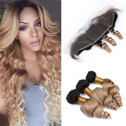$enCountryForm.capitalKeyWord Australia - Loose Wave Wavy Ombre Honey Blonde Human Hair Frontal and Bundles Deals Two Tone 1B 27 Brown Blonde Ombre Human Hair with Frontal