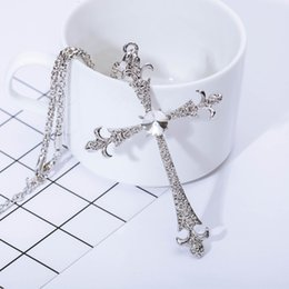 Necklaces Pendants Australia - Cross Pendant Necklace for Women Collier Plated Silver Necklace Fashion Crystal Jewelry Accessories Long Sweater Chains Necklaces