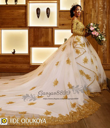 $enCountryForm.capitalKeyWord Australia - 2019 Gold lace white long sleeves ball gown wedding dresses sheer neck long sleeves beaded arabic african church formal bridal wedding gowns