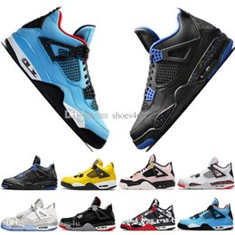 $enCountryForm.capitalKeyWord NZ - 2019 Newest Bred 4 4s What The Cactus Jack Laser Wings Mens Basketball Shoes Denim Blue Pale Citron Men Sports Designer Sneakers Size 5.5-13