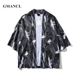 fa608ce78 Japanese Style Spring Summer Men white crane printed Kimono Cardigan Jackets  Short sleeve Casual Streetwear Loose Outwear Thin