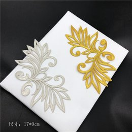 wholesale lace motifs Australia - Nice Design Gold Color Clothing Decorative Accessories Embroidery Patch pillow cheongsam Lace Applique Motifs DIY on Dress