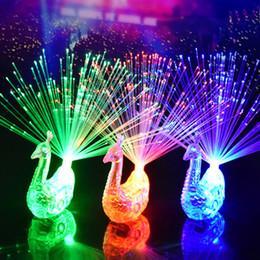 Peacock Lights Australia - 3pcs Colorful LED Light-up finger Rings Peacock Finger Light Party Gadgets children Intelligent Toys Party Gift Kids Novelty gift