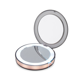 magnifying lights NZ - LED Lighted Mini Makeup Mirror 3X Magnifying Compact Travel Portable Sensing Lighting Makeup Mirror SK88 Y200114