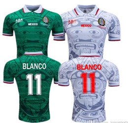 b6c1303c6 1998 MEXICO National Team RETRO VINTAGE BLANCO Throwback Classic Soccer  Jerseys 98 Mexico Campos Hernandez Football Shirt Embroidery Logo