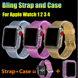 caso de bling para apple venda por atacado-1 Set Glitter Strap com Bling Watch Case para Apple Watch Series Soft Silicone Pulseira para iWatch mm mm