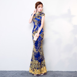 Wholesale qipao lace cheongsam resale online - Blue Wedding Party Cheongsam Oriental Evening Dress Chinese Traditional Womens Elegant Qipao Sexy Lace Long Robe Retro Vestido