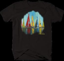 $enCountryForm.capitalKeyWord Australia - Sailboat Painting Ocean Fishing Sailing Colorful Waters DoBrand Art T-shirt