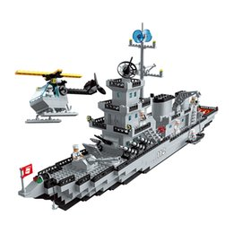 model aircraft carriers Australia - Building blocks small particle boy assembles aircraft carrier model 6-12 years old children toy military cruise ship