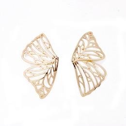 big butterfly earrings 2019 - Gold Color Hollow Butterfly Earrings Elegant Big Fan Shaped Metal Women Stud Earrings Fashion Jewelry Accessories 2019 N