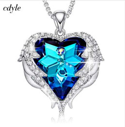$enCountryForm.capitalKeyWord NZ - NEW Cdyle Crystals from Swarovski Necklaces Zircon Fashion Jewelry for Women Pendant 2018 Blue Rhinestone Luxury Set Heart Statement
