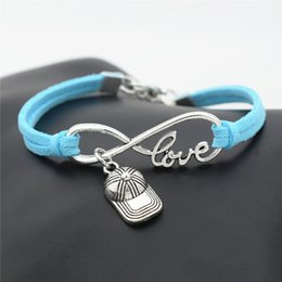 love hip hop jewelry Australia - Wholesale Silver Infinity Love Hip Hop Baseball Cap Hat Sports Cuff Charm Bracelet Bangles Women Men Handmade Blue Leather Rope Jewelry Gift