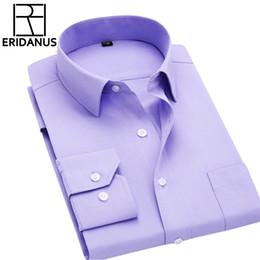 Shirt Ironing Australia - Long Sleeve Men Autumn New Fashion Designer High Quality Solid Shirt Non Iron Slim Fit Business Shirts Formal 4xl X00 Q190514
