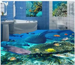stereo painting Australia - 3D custom self-adhesive waterproof photo floor mural wallpaper Underwater World Shark Dolphin Seaweed Coral 3D Stereo Painting Floor Wall