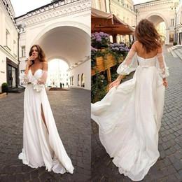 $enCountryForm.capitalKeyWord Australia - 2019 Elegant A-line Summer Wedding Dresses Chiffon Bohemian Beach Off Shoulder Long Sleeve Vintage Plus Size Bridal Gown Custom made