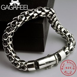 bracelet pin clasp silver NZ - GAGAFEEL S925 Thai Silver Dragon Scale Pin Bracelet Men's Coarse Chain Handmade Vintage Fashion Personality Domineering Bracelet SH190925