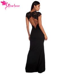 fafd6eeed69 Dear Lover Robe De Soiree Longue Maxi Summer Short Sleeve Black Lace Splice  Open Back Party Gown Dress Vestido De Festa Lc610209 Y190425