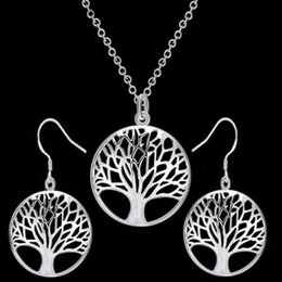 $enCountryForm.capitalKeyWord Australia - The Tree of Life Pendant Necklace Earrings Set Silver Gold Color Statement Jewelry Sets for Party Women Girls Christmas Gift Cheap Wholesale