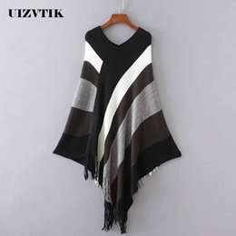 $enCountryForm.capitalKeyWord Canada - UIZVTIK Casual Autumn Winter Knitted Sweater Women Oversize Striped Pullover Bat Shirt Warm Irregular V-neck Tassel Cloak Shawl