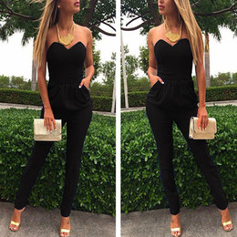 Sexy Club Women Jumpsuits Australia - 2018 Elegant Autumn Summer Romper Women Jumpsuit Strapless Solid Club Sexy Fashion Tunic Pocket Backless Long Party Maxi Overall Y19060501
